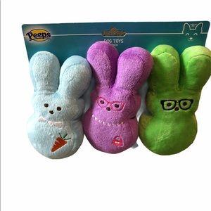 🆕 Peeps Dress Up Bunny Plush Dog Toy 3 Pack